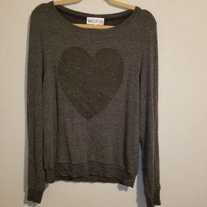Wildfox Charcoal Gray Glitter Heart Sweatshirt